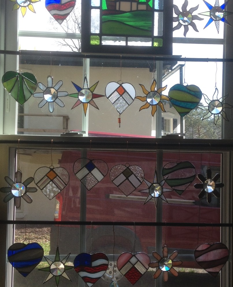 Stained Glass and Vintage crystal Suncatchers